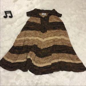 Vintage Marled Stripe Poncho Sweater